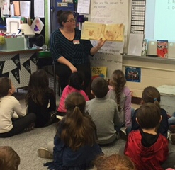 CMHC employee during Read Aloud at Forbes School